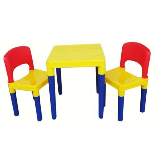 DELSUN [DELSUN 8101] 兒童桌椅組 原色 塑膠收納架 DIY 多功能 台灣製造 安檢 1桌2椅